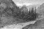 Usson: a nineteenth century etching. The castle is visible on a pog in the centre of the picture